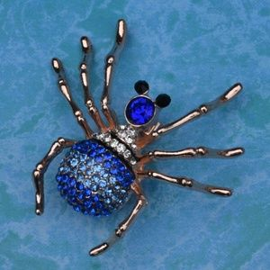 Jewelry - NWOT Blue and Gold Tone Spider Brooch